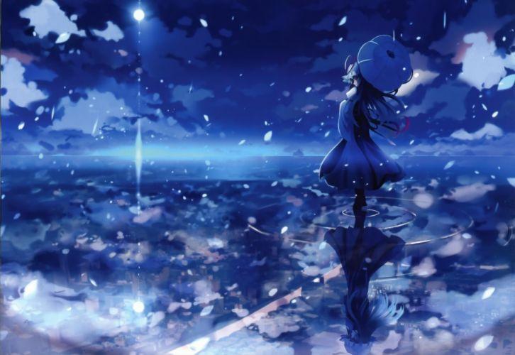 Water blue touhou night scenic yakumo yukari umbrellas skyscapes reflections anime girls wallpaper
