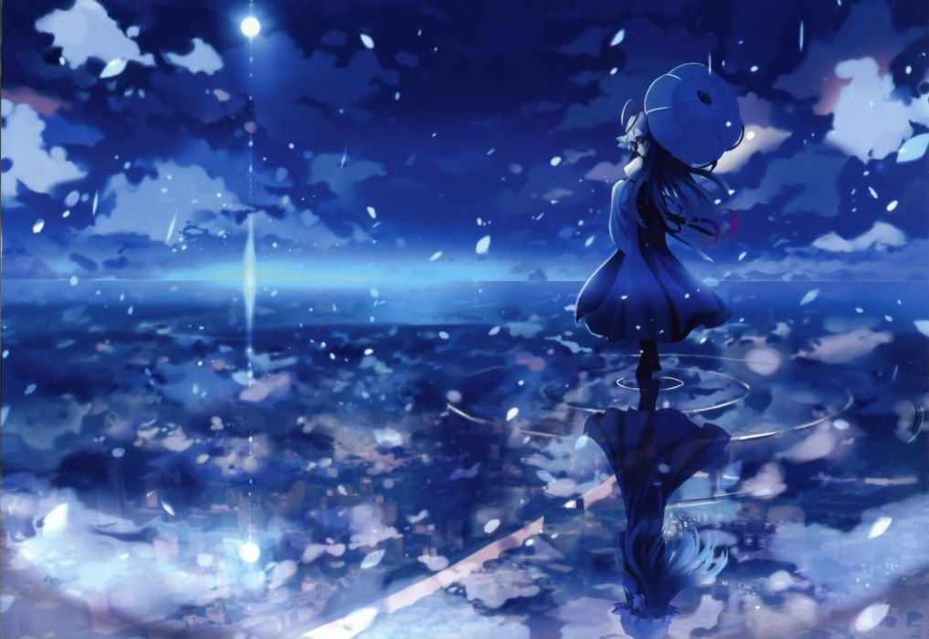 Water Blue Touhou Night Scenic Yakumo Yukari Umbrellas Skyscapes Reflections Anime Girls Wallpaper