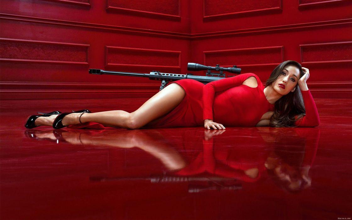 Brunettes women sniper rifles high heels maggie q red dress wallpaper