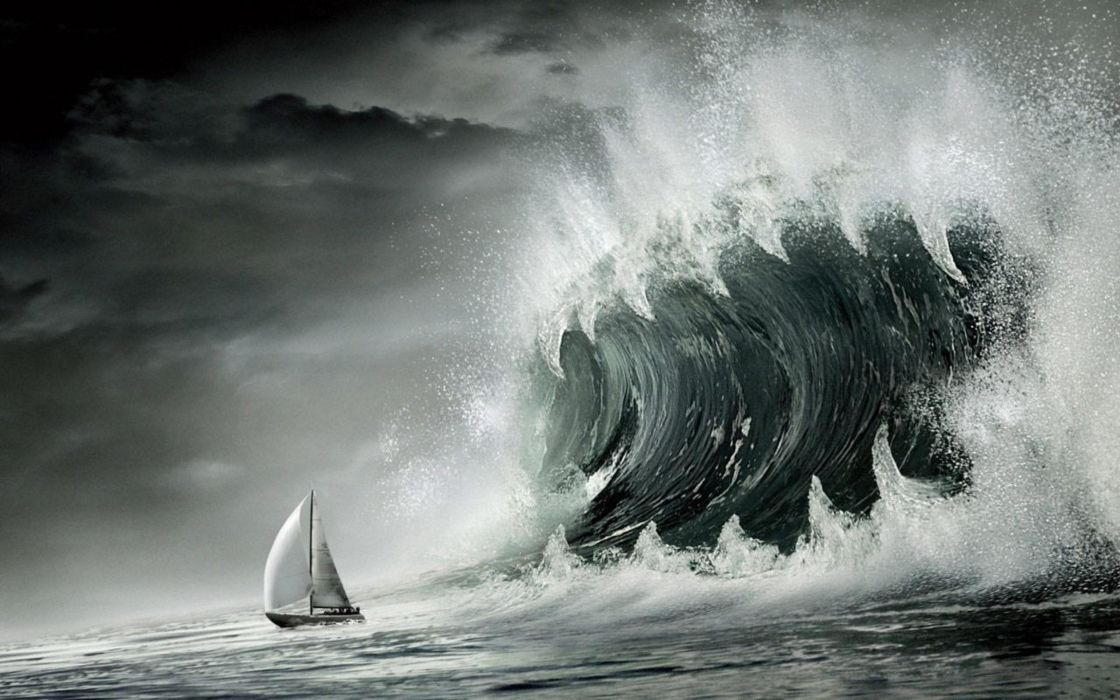 Clouds Sea Waves Storm Ships Wallpaper 2560x1600 12484