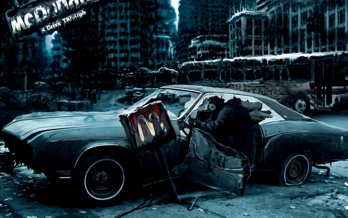 Apocalyptic cars artwork mc donalds wallpaper