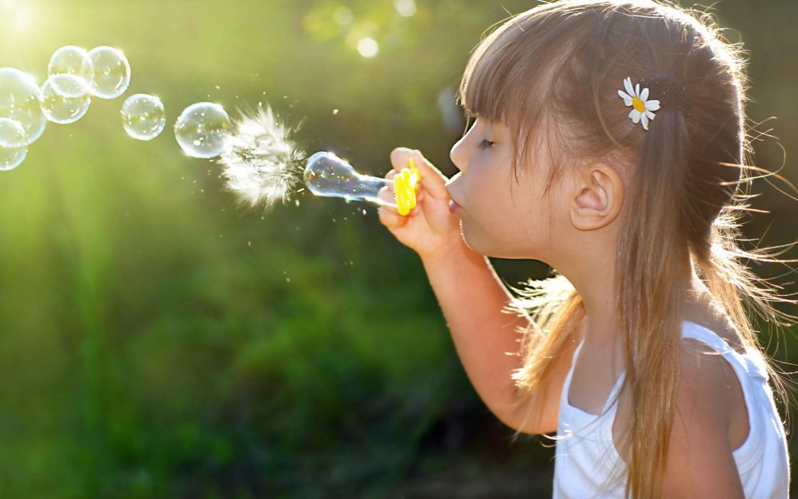 Brunettes women kids soap little bubbles widescreen soap bubble wallpaper