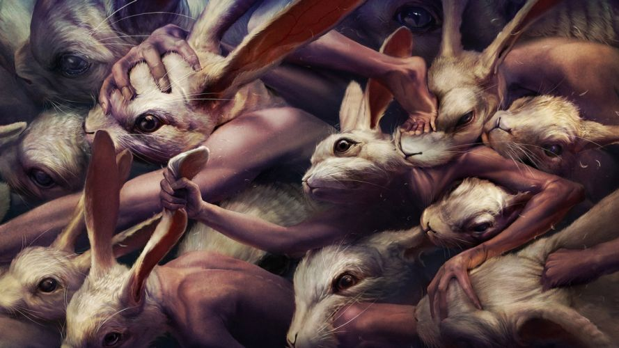 Paintings artistic animals rabbits wallpaper