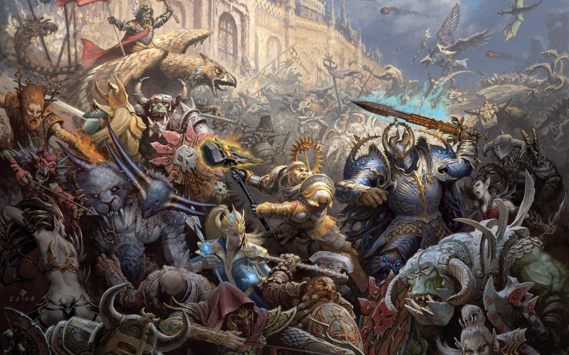 Fantasy mage war castles warhammer chaos elves dwarfs battles orcs artwork siege wallpaper
