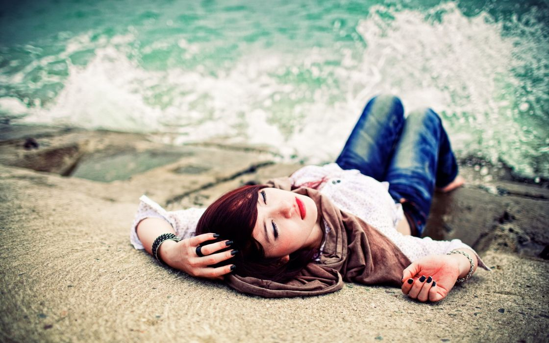 Women coast sea waves redheads models rocks lying down wallpaper