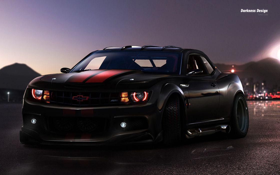 Dark cars tuning chevrolet camaro wallpaper