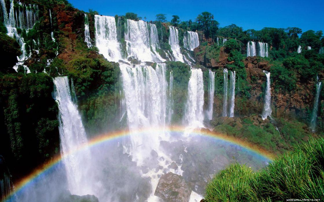 Rainbows waterfalls wallpaper