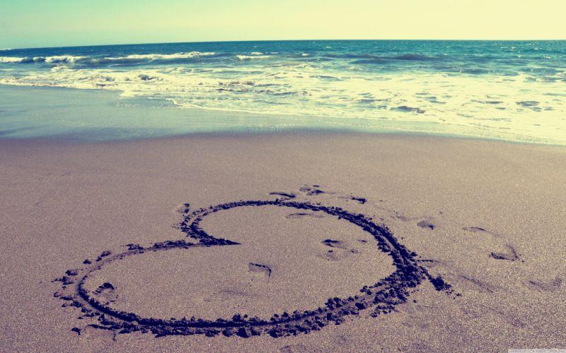 Love beach hearts wallpaper