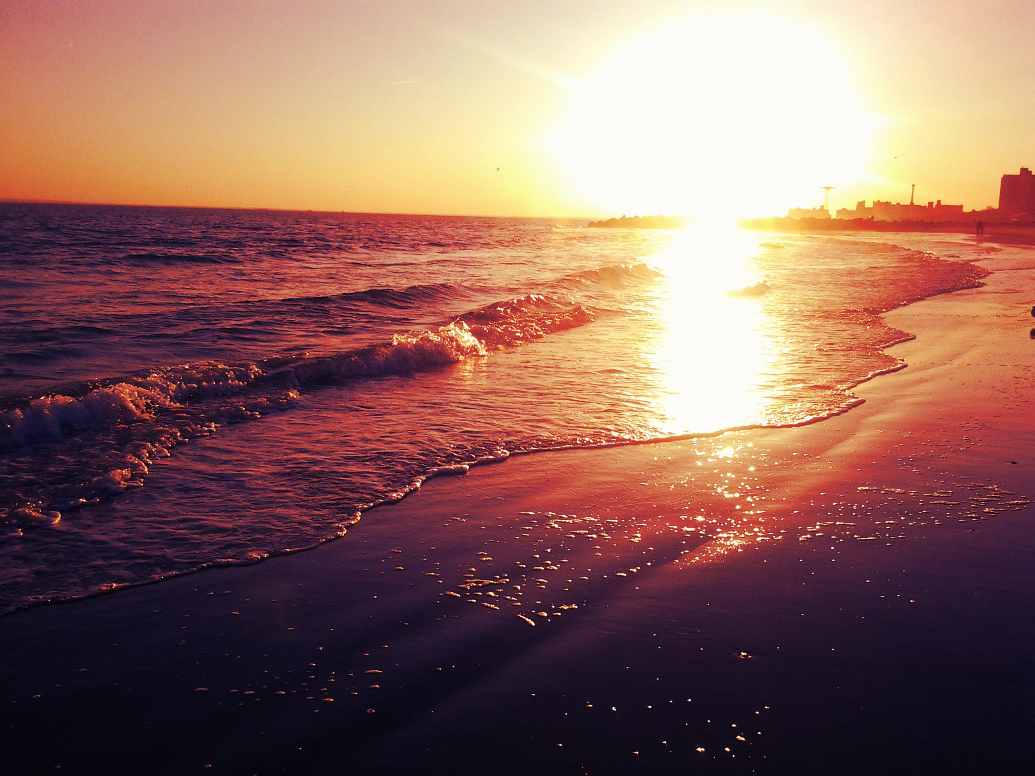 Sunrise Beach Waves Wallpaper