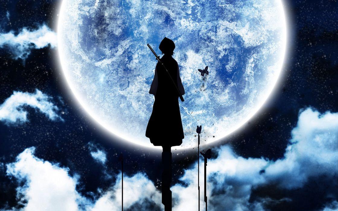 Bleach moon silhouette kuchiki rukia wallpaper
