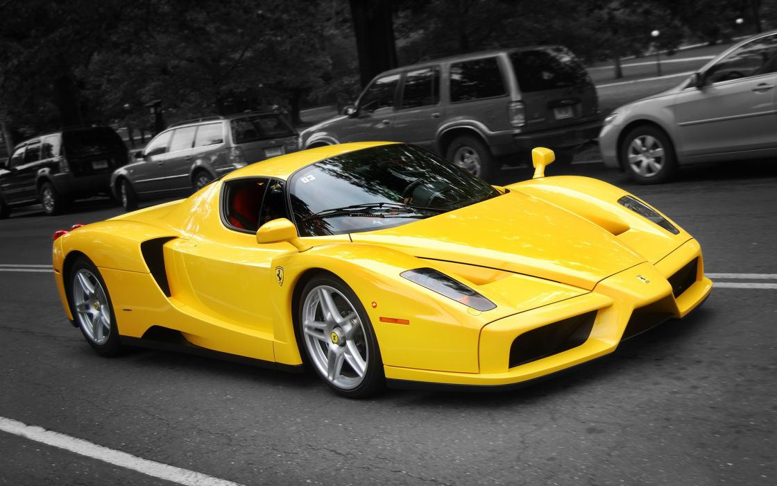 Cars ferrari vehicles ferrari enzo selective coloring wallpaper