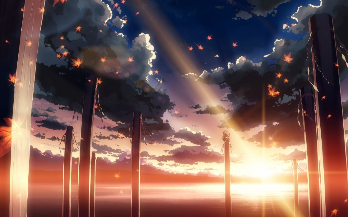 Clouds touhou sun leaves sunlight maple leaf lakes yasaka kanako skyscapes games wallpaper