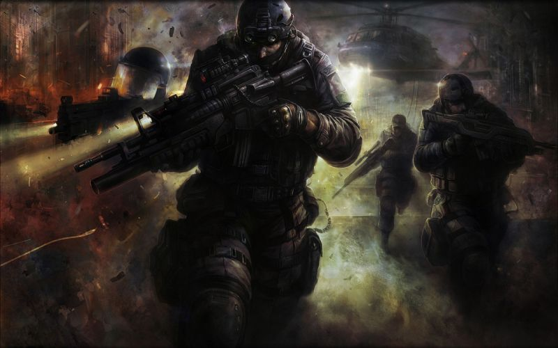 Soldiers video games guns artwork wallpaper