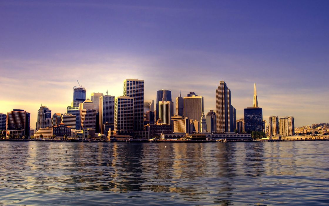 Water cityscapes skyline wallpaper