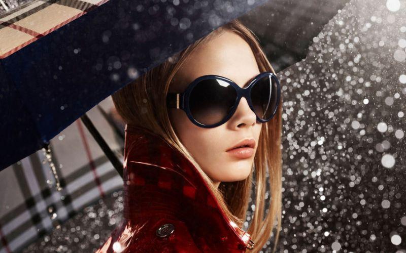 Blondes women rain models glasses sunglasses umbrellas faces wallpaper