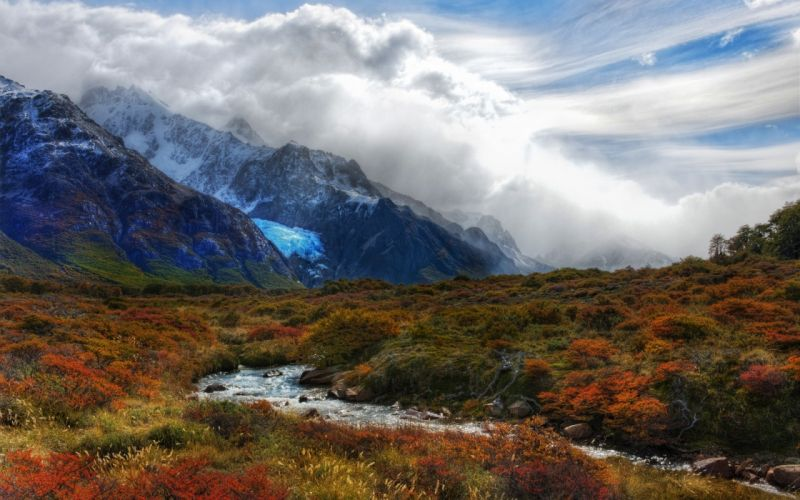Mountains clouds nature valley wallpaper