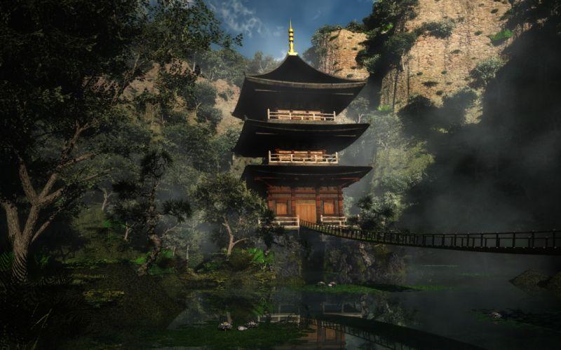 Illustrations temples artwork asian architecture wallpaper