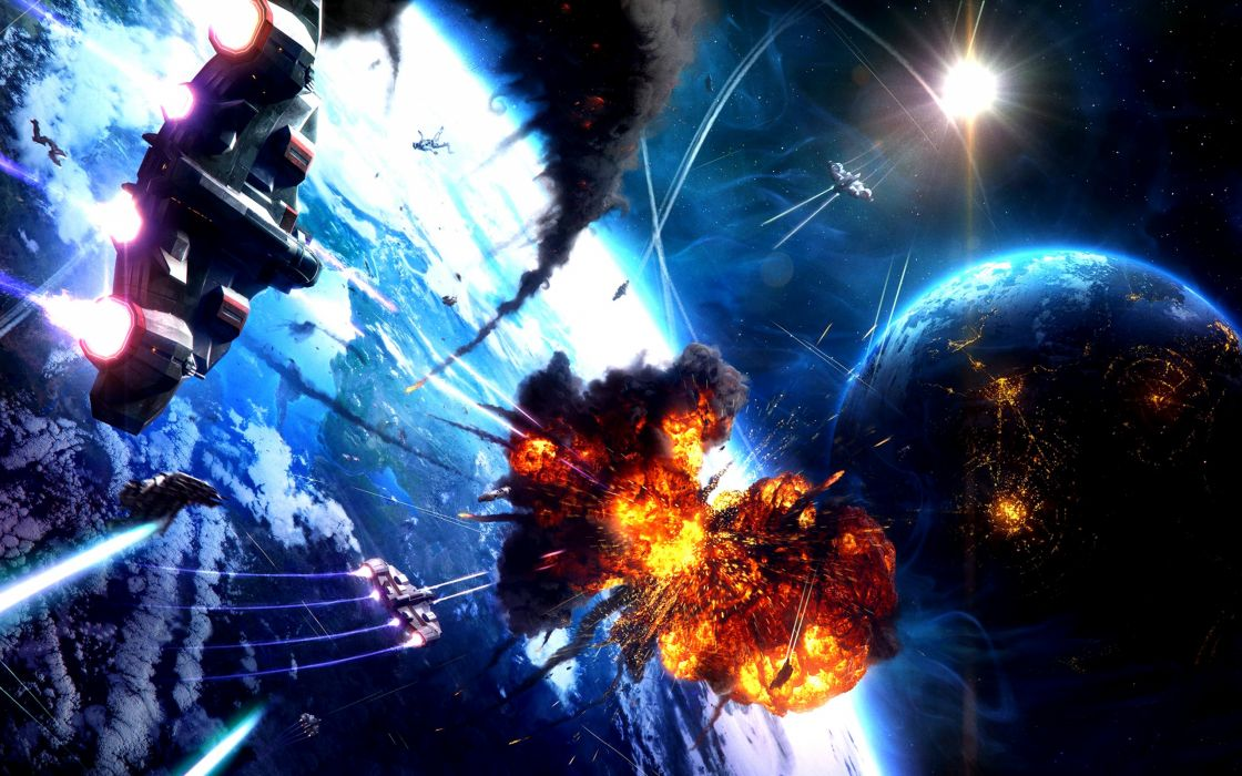 Light outer space futuristic explosions planets spaceships digital art vehicles wallpaper