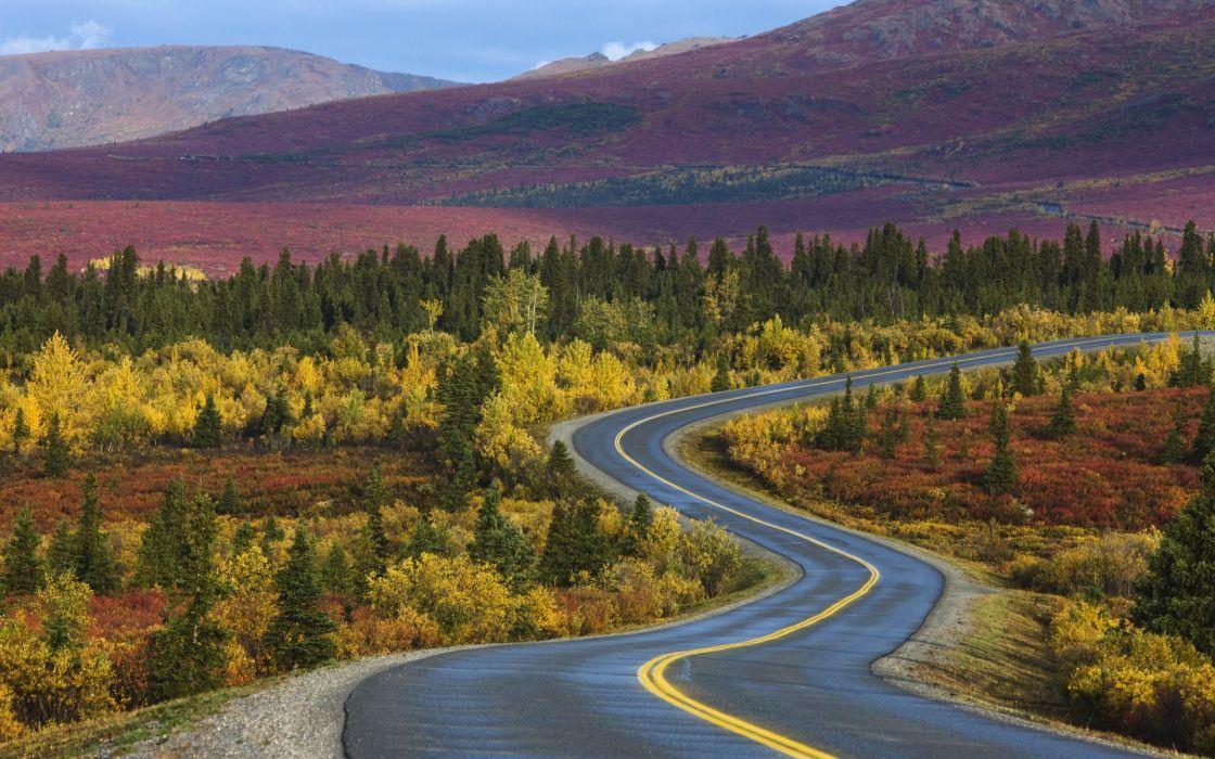 Mountains autumn roads wallpaper