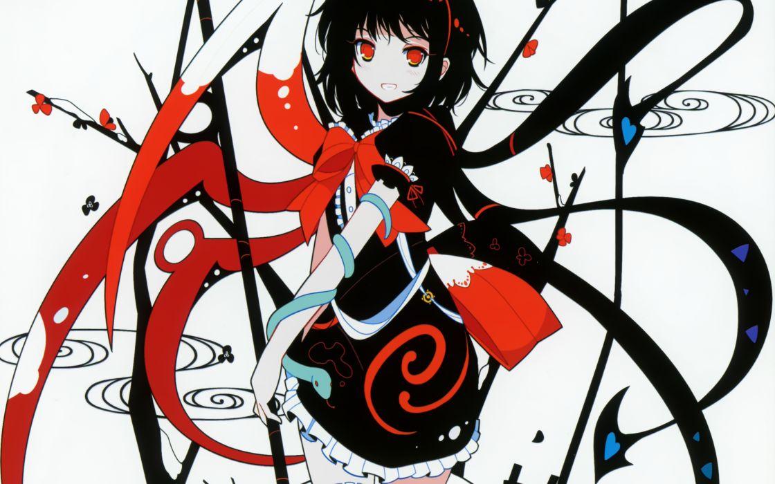 Touhou wings red eyes short hair houjuu nue anime girls ideolo black hair wallpaper