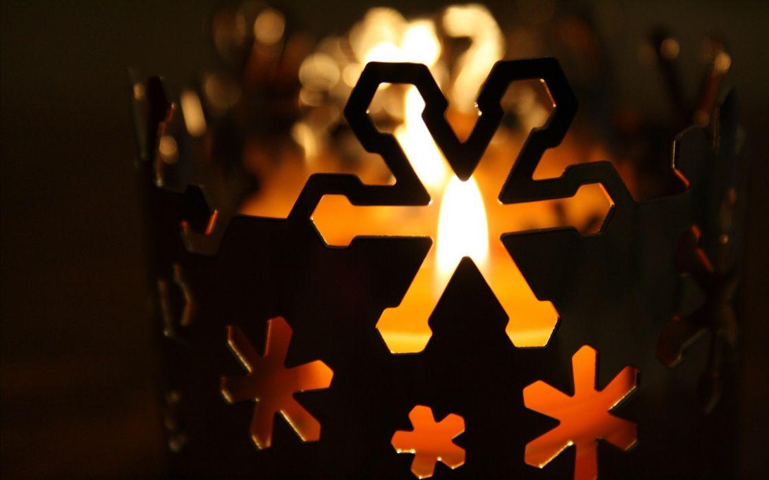 Christmas snowflakes candles wallpaper