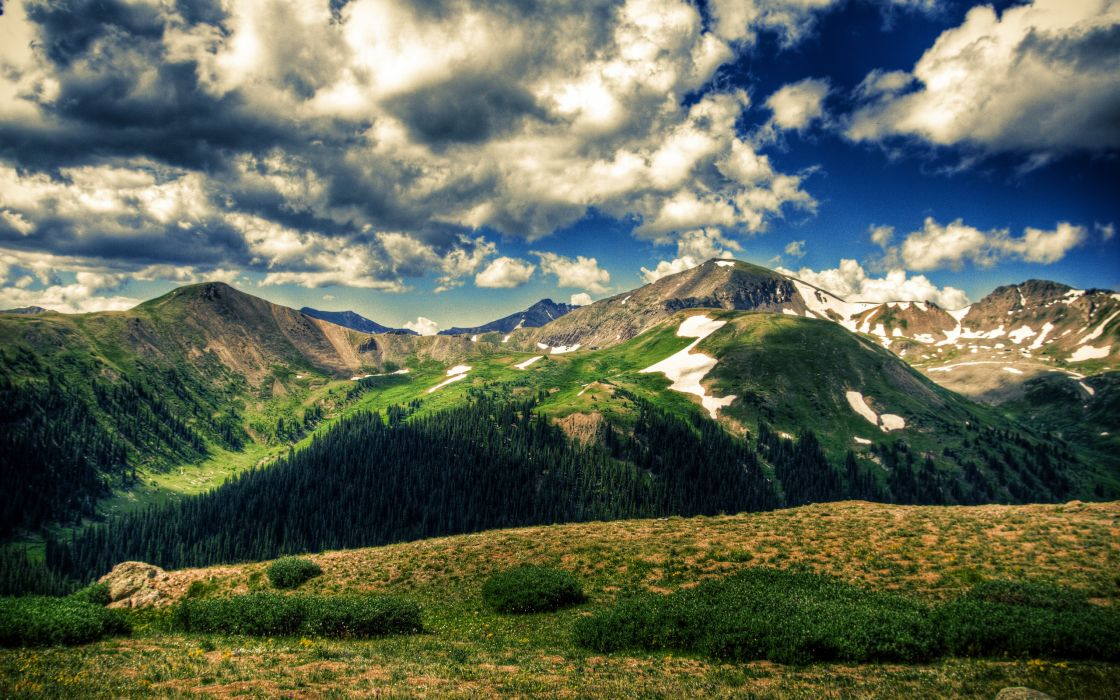Mountains landscapes nature fields blue skies wallpaper