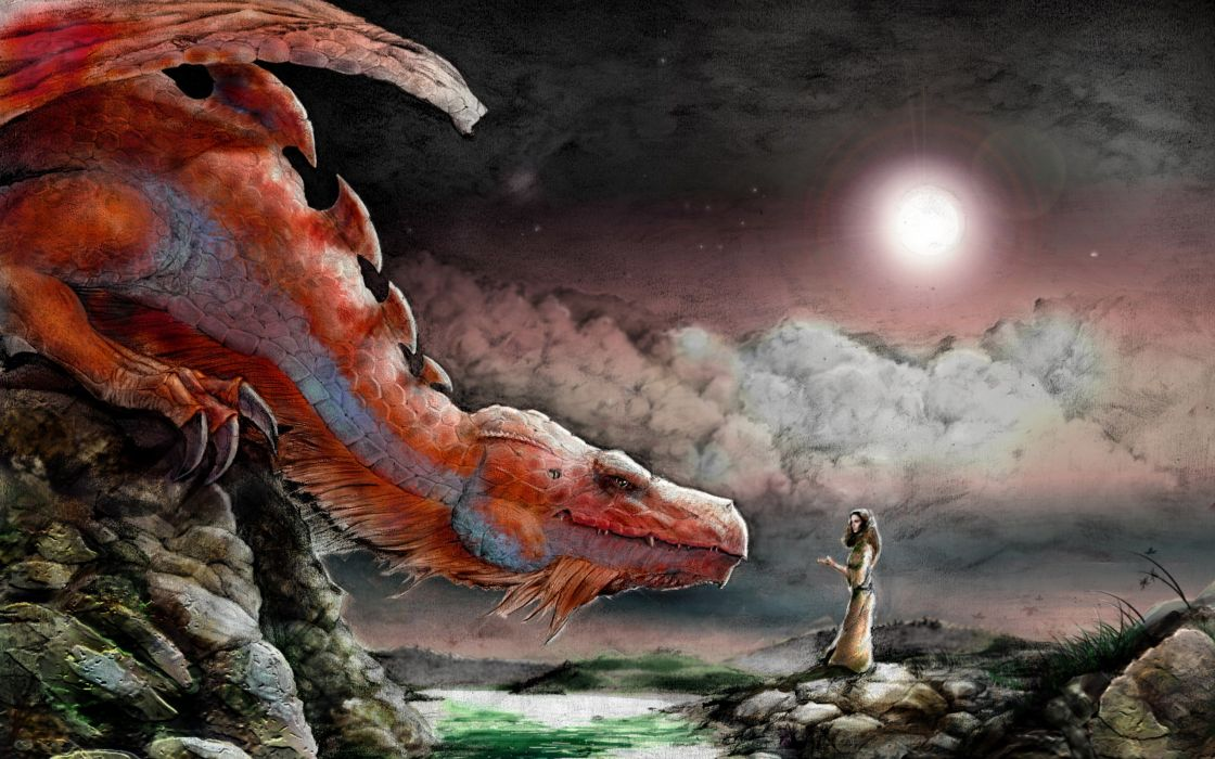 Dragons paint fantasy art artwork wallpaper