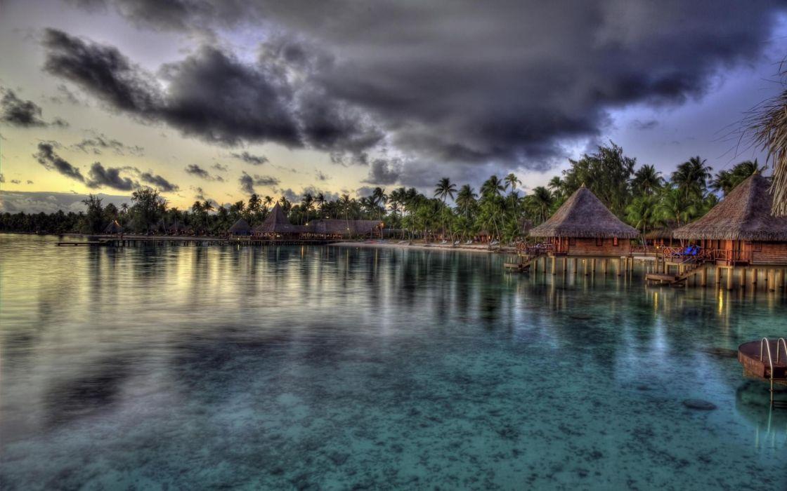 Landscapes beach sea tropical palm trees wallpaper