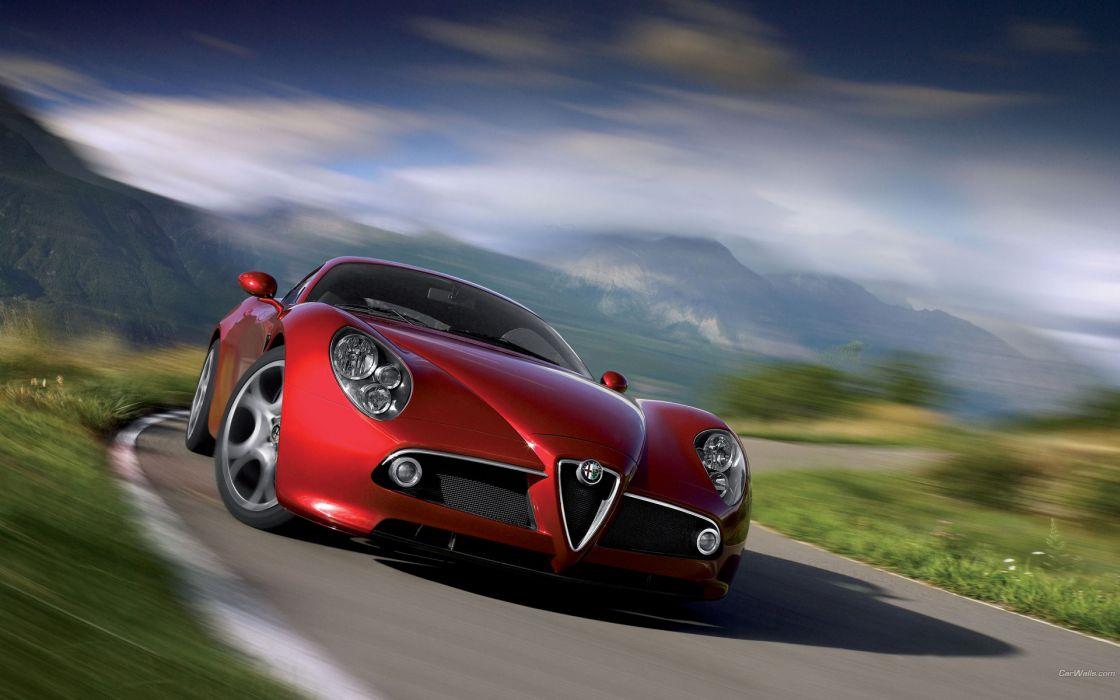 Red cars alfa romeo vehicles alfa romeo 8c alfa romeo 8c competizione wallpaper
