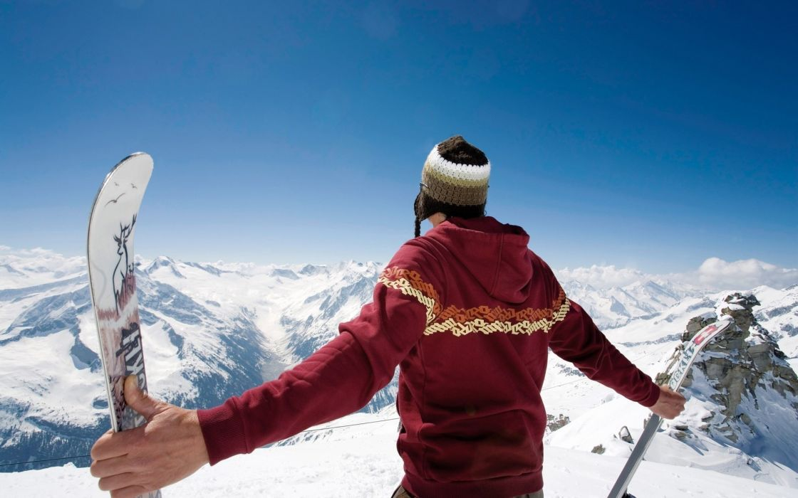 Mountains snow sports guy skiing wallpaper