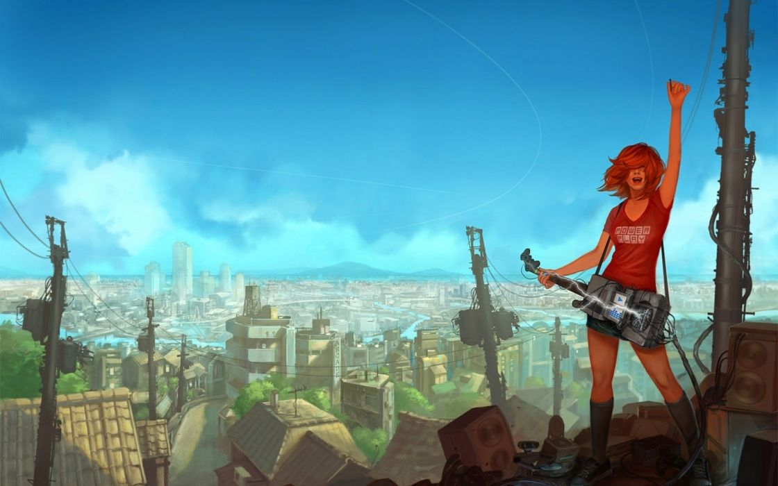 Women cityscapes futuristic redheads guitars artwork wallpaper