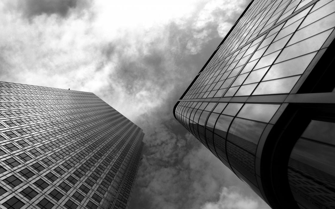 Clouds cityscapes buildings monochrome skyscapes wallpaper