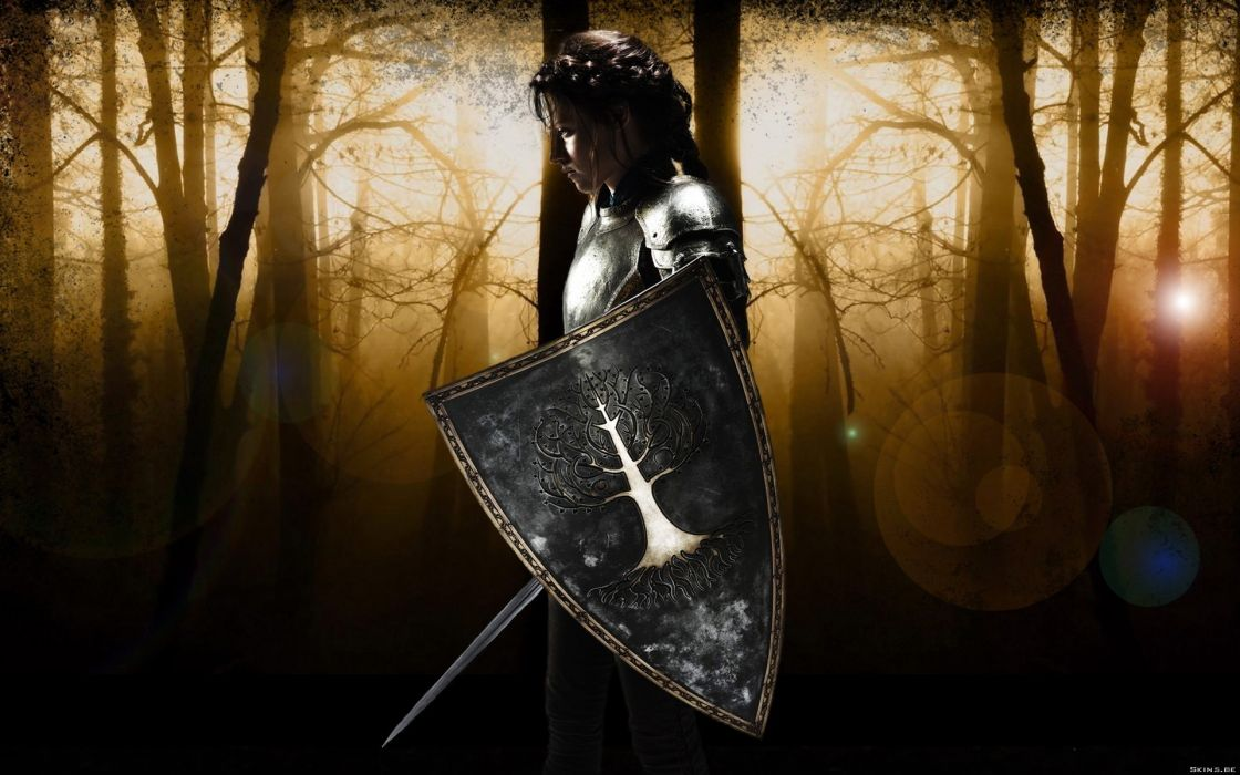 Fantasy kristen stewart trees forest actress promotional armor shield braids swords snow white and the huntsman wallpaper