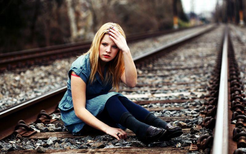 Blondes women railroad tracks wallpaper