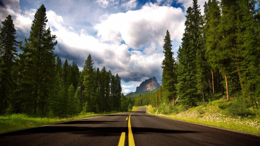 Clouds landscapes nature trees forest roads wallpaper