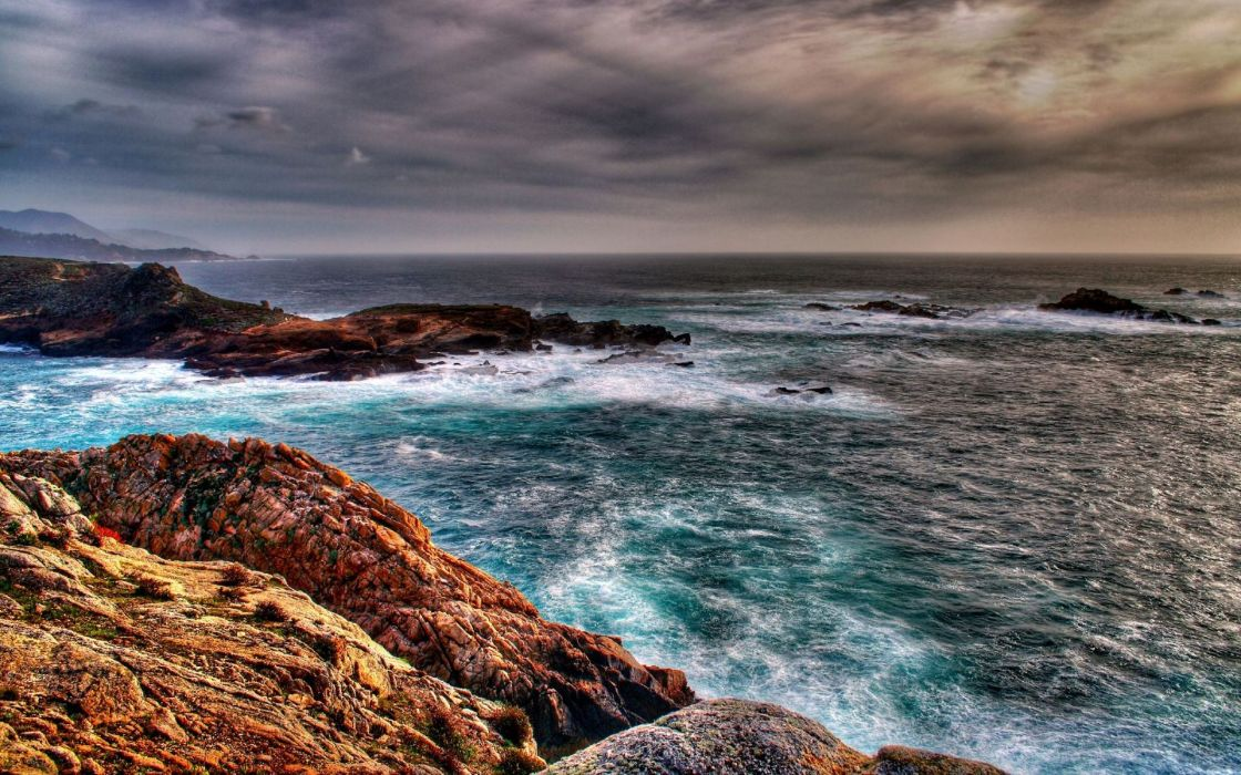 Water ocean coast beach sea waves stones hdr photography wallpaper