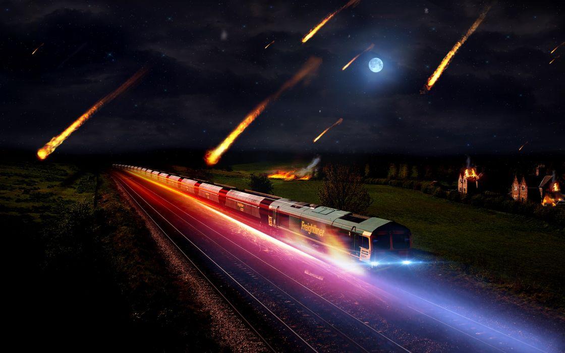 Landscapes night fire trains speed speedart meteor wallpaper