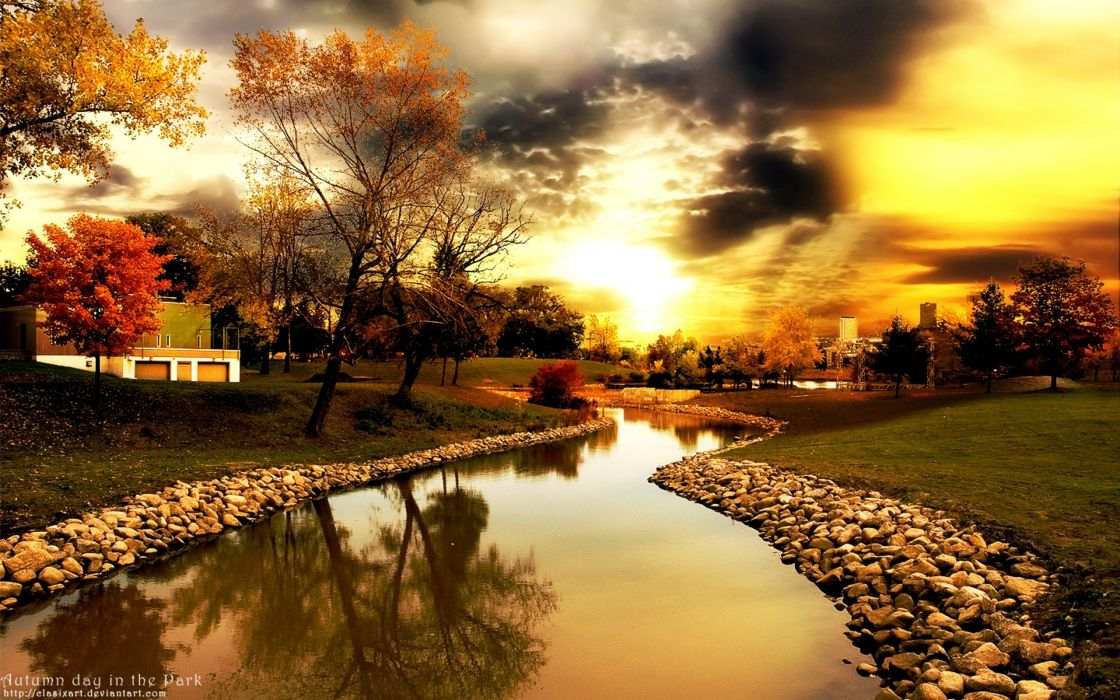 Sunset clouds landscapes nature trees autumn day rocks sunlight skyscapes wallpaper