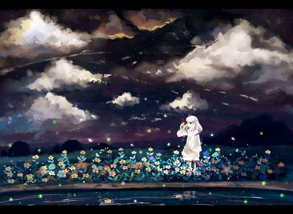 Women water clouds dress flowers butterfly fireflies wallpaper