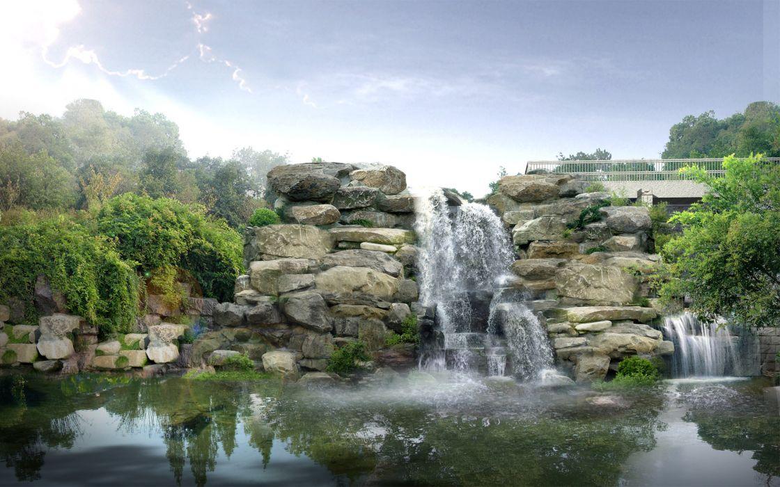 Waterfalls japan digital wallpaper