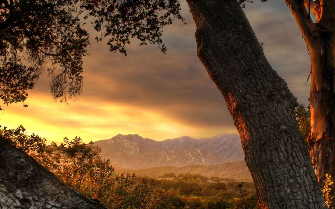 Sunset mountains landscapes trees valley hdr photography wallpaper
