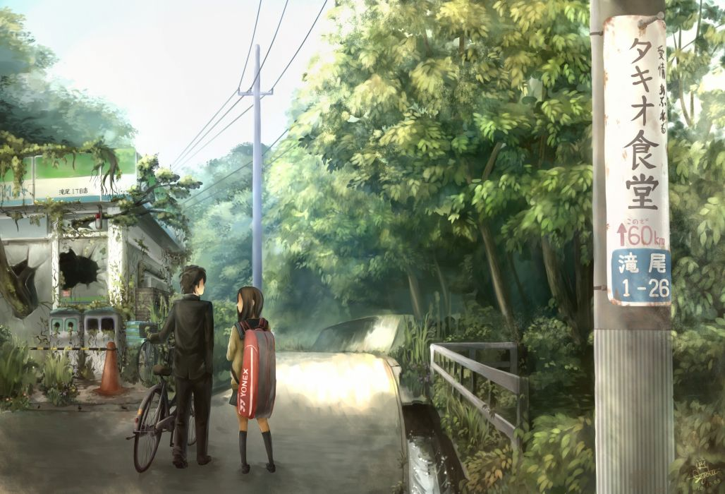 Nature bicycles anime girls wallpaper