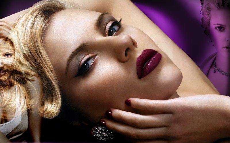 Women scarlett johansson actress models celebrity lipstick glamour faces wallpaper