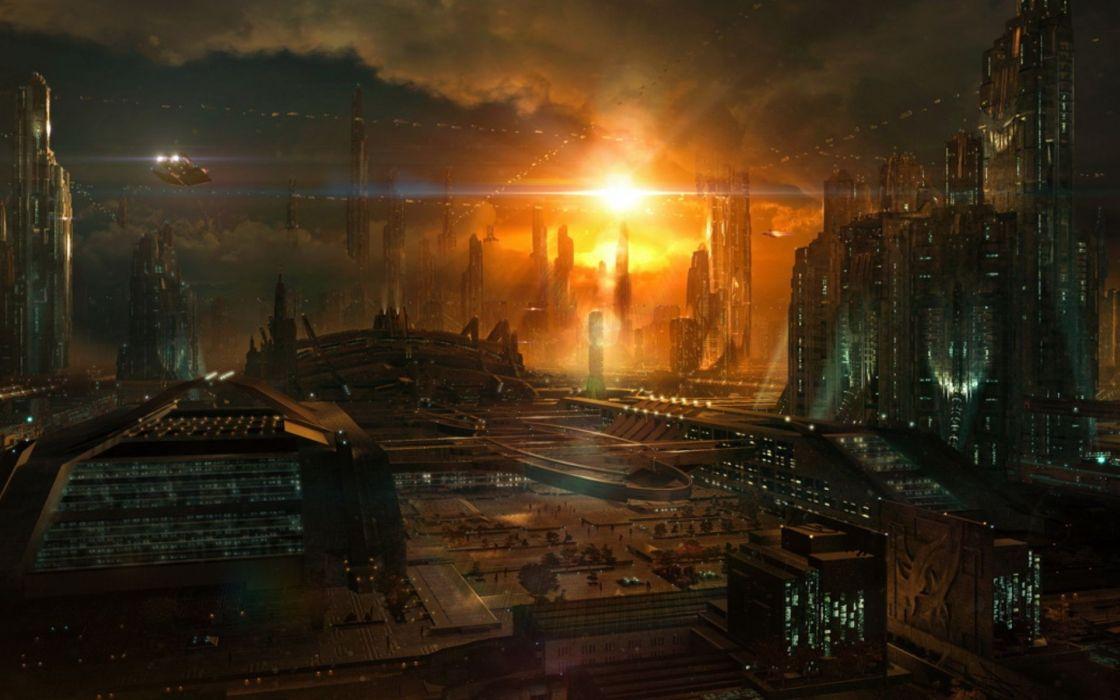 Fantasy cityscapes artwork 3d wallpaper