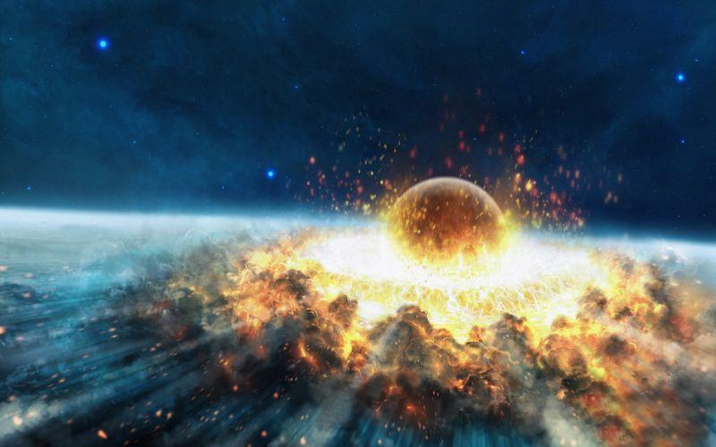 Explosions planets crash artwork catastrophe collision wallpaper
