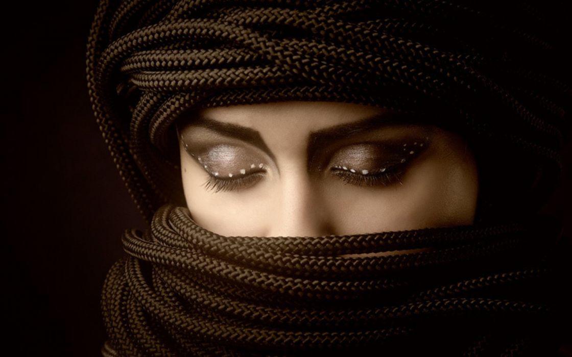Women eyes ropes wallpaper