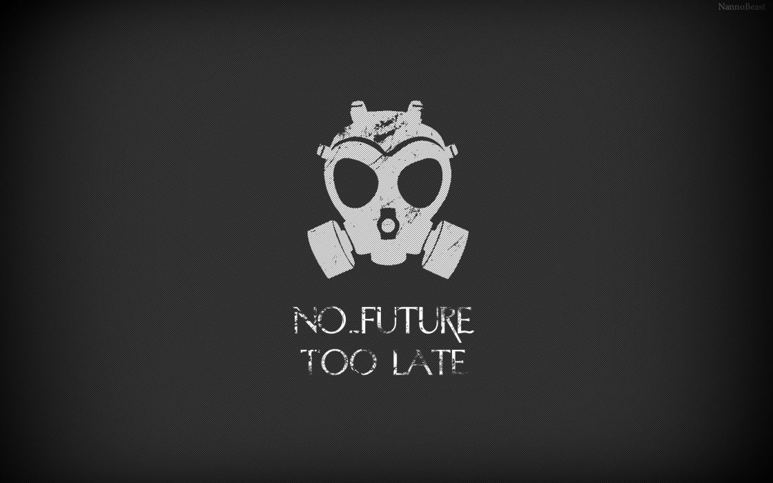 Abstract typography gas masks artwork wallpaper
