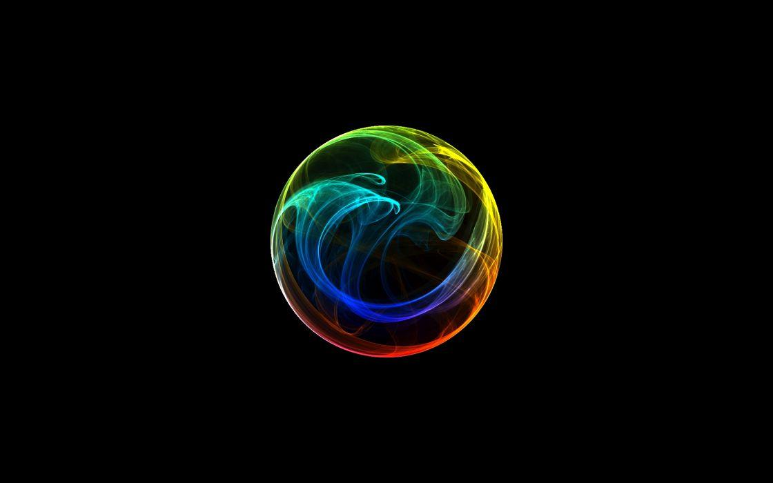 Circles rainbows black background orbs wallpaper
