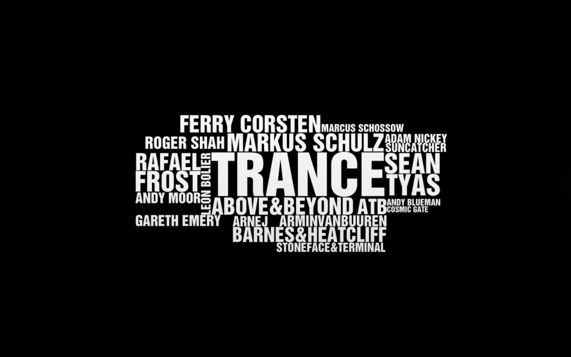 Music text typography trance armin van buuren above and beyond ferry corsten cosmic gate wordcloud wallpaper