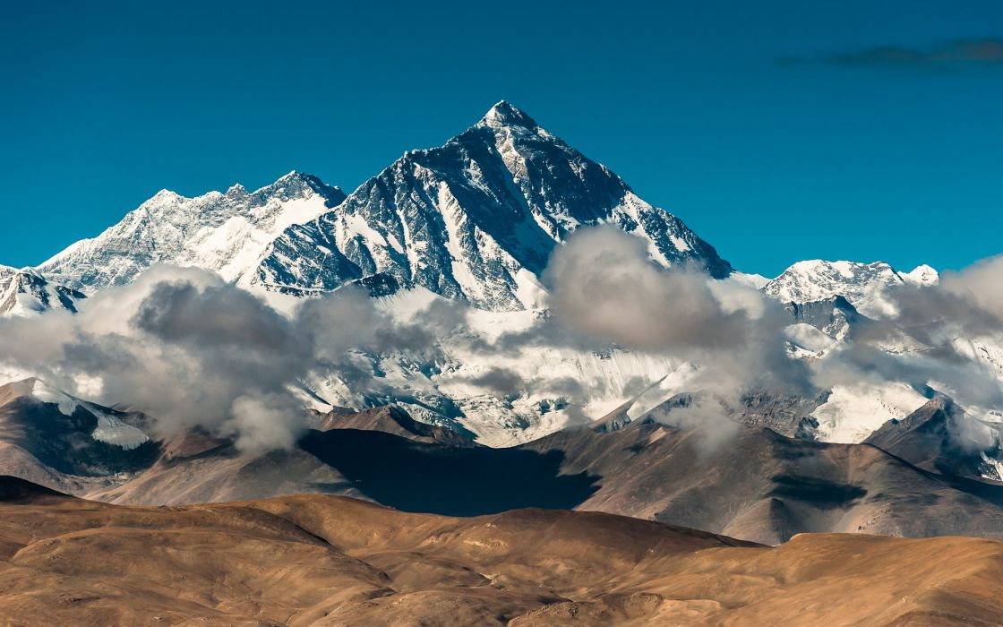 Mountains snow china rocks tibet mount everest blue skies wallpaper